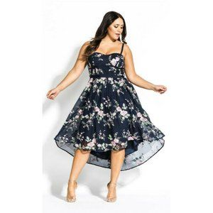 City Chic Aphrodite Embroidered Floral Hi-Lo Dress